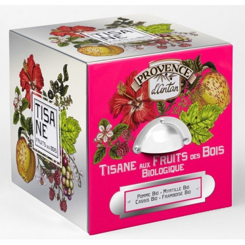 Tisanes Fruits des bois Bio - Cube métal en Fer  24 sachets