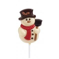 Sucette Bonhomme de neige chocolat blanc 35g