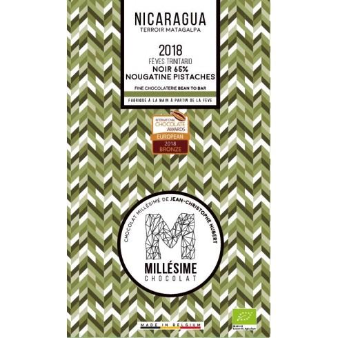 Tablette Chocolat Noir 65% Nougatine Pistaches Nicaragua - Millesime 70g