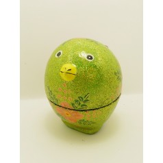 Green glittery chick box hand painting with milk chocolate inside 45g