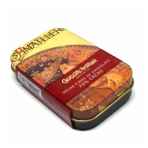 Chocolats noir 70% de cacao Amatller, boîte métal 30g