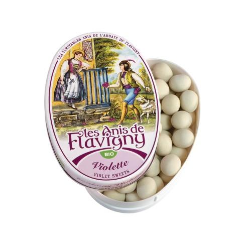 Boîte ovale Bonbons Violette Bio 50g