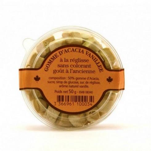 Gomme acacia vanillée à la réglisse -50g
