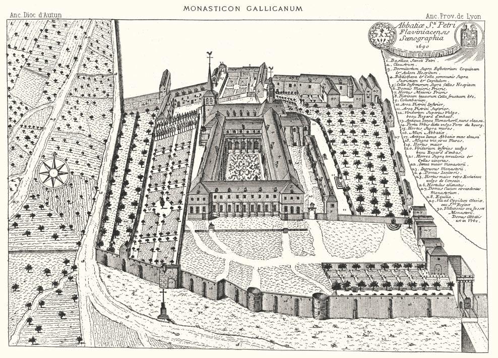 Abbaye Saint-Pierre- Gravure du Monasticum Gallicanum